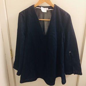 ASOS long sleeve denim v neck tunic top